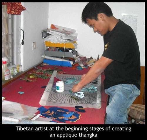 -creating applique thangka
