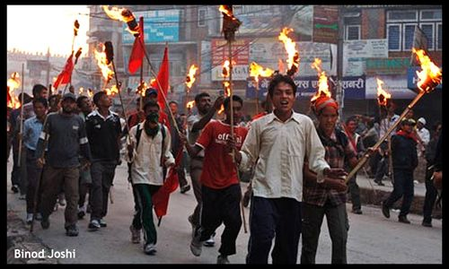 05-Maoists with torched