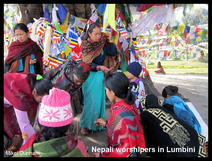 Nepali worshipers in Lumbini